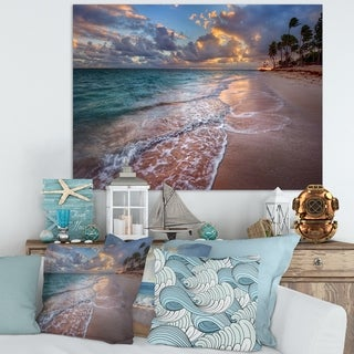 Designart 'Palm Trees on Clear Sandy Beach' Seashore Art Print on Canvas