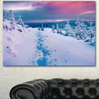 Designart 'Beautiful Sunrise over Winter Mountains' Large Landscape Art Canvas Print