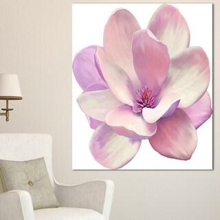 Designart 'Cute Light Pink Magnolia Flower' Flowers Canvas Wall Artwork