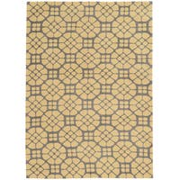 TUFTED GEO 09 GREY/BUTTER Polyester Rug (5' X 7')