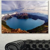 Designart 'Clear Lake with Bright Sky' Extra Large Landscape Art Canvas - Blue