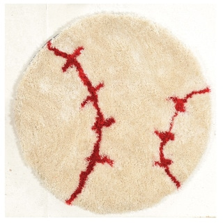 "Hand Tufted Baseball Polyester Rug (44"" Round)"