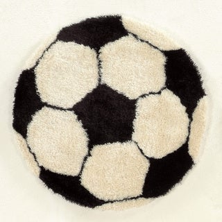 """Hand Tufted Soccer Ball Polyester Rug (44"""" Round)"""