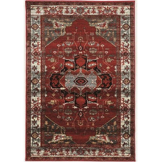 PowerLoomed Serape Goravan Red Polyester Rug