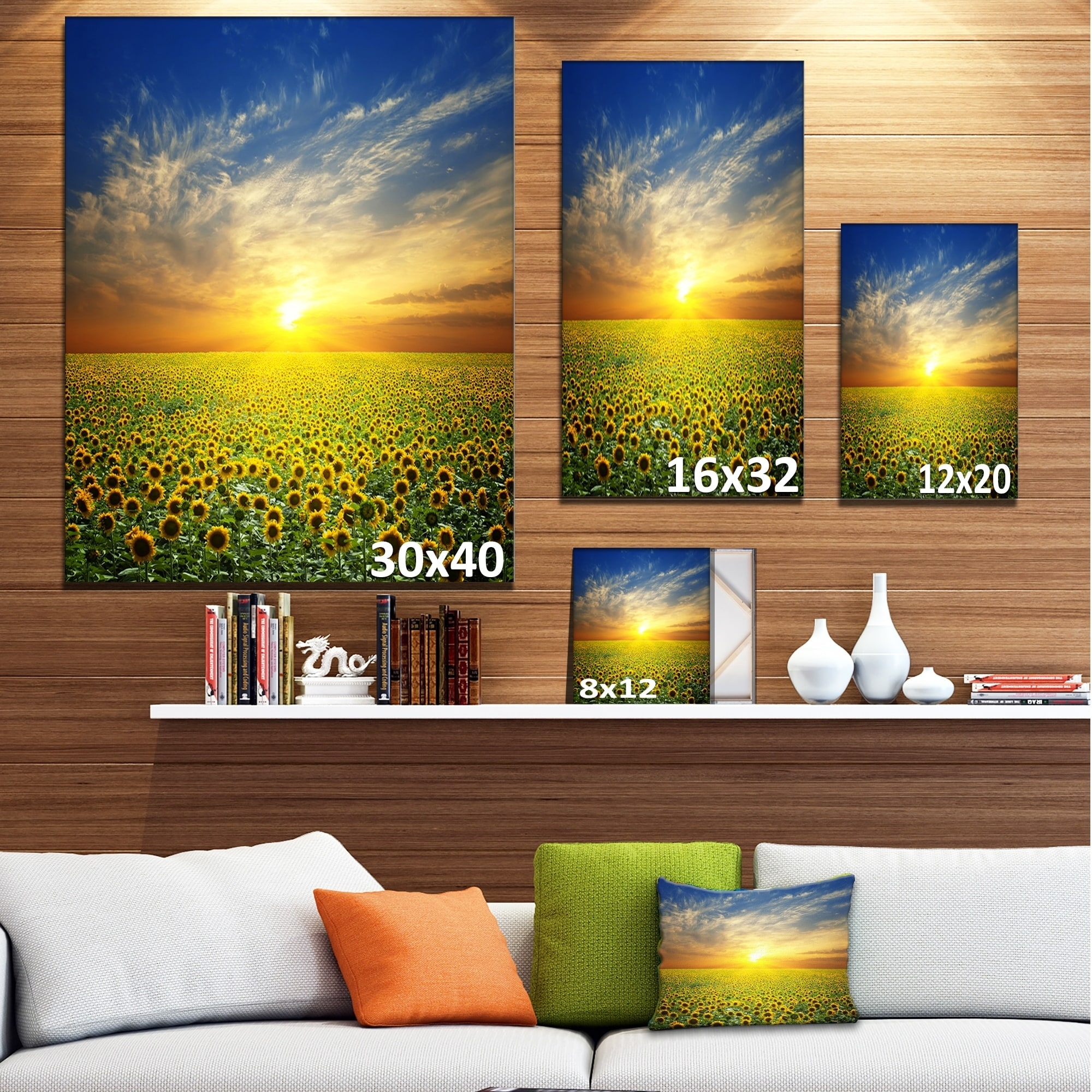 Beauty Sunset Over Sunflowers Field Floral Canvas Artwork Print Yellow Overstock 13177902