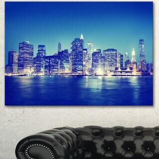 Designart 'New York City Night Panorama' Extra Large Cityscape Wall Art on Canvas