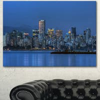 Designart 'Vancouver Downtown in Evening' Extra Large Cityscape Wall Art on Canvas - Blue