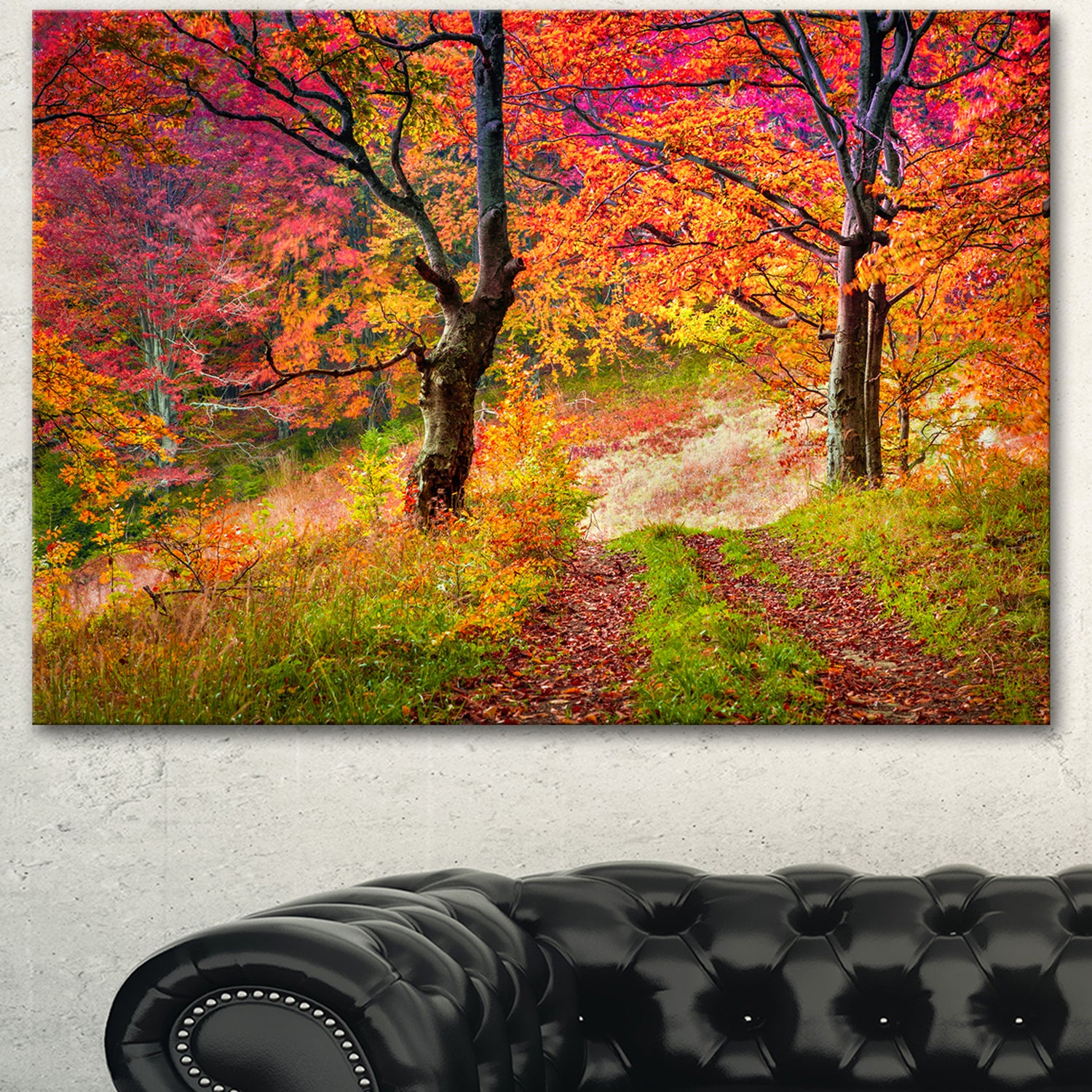 Shop Designart Bright Colorful Fall Trees In Forest Large