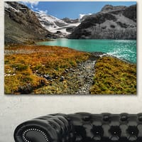 Designart 'Crystal Clear Lake among Mountains' Landscape Artwork Canvas Print