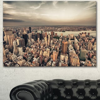 Designart 'Manhattan Skyscrapers Aerial View' Modern Cityscape Canvas Artwork