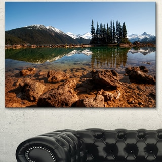 Designart 'Beautiful Clear Lake with Pine Trees' Extra Large Landscape Art Canvas