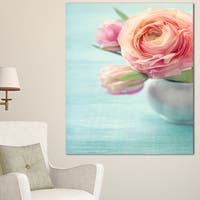 Designart 'Beautiful Pink Flowers in Vase' Floral Canvas Artwork Print