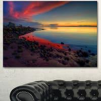 Designart 'Blasts of Color at the Sunset' Seashore Art Print on Canvas