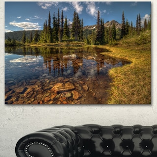 Designart 'Bright Clear Day and Clear Lake' Extra Large Landscape Art Canvas