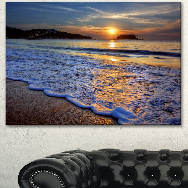 Designart 'Calm Seashore with Blue Waves' Seashore Art Print on Canvas