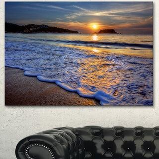 Designart 'Calm Seashore with Blue Waves' Seashore Art Print on Canvas
