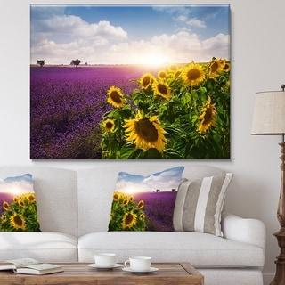 Designart 'Lavender and Sunflower Fields' Floral Canvas Artwork Print