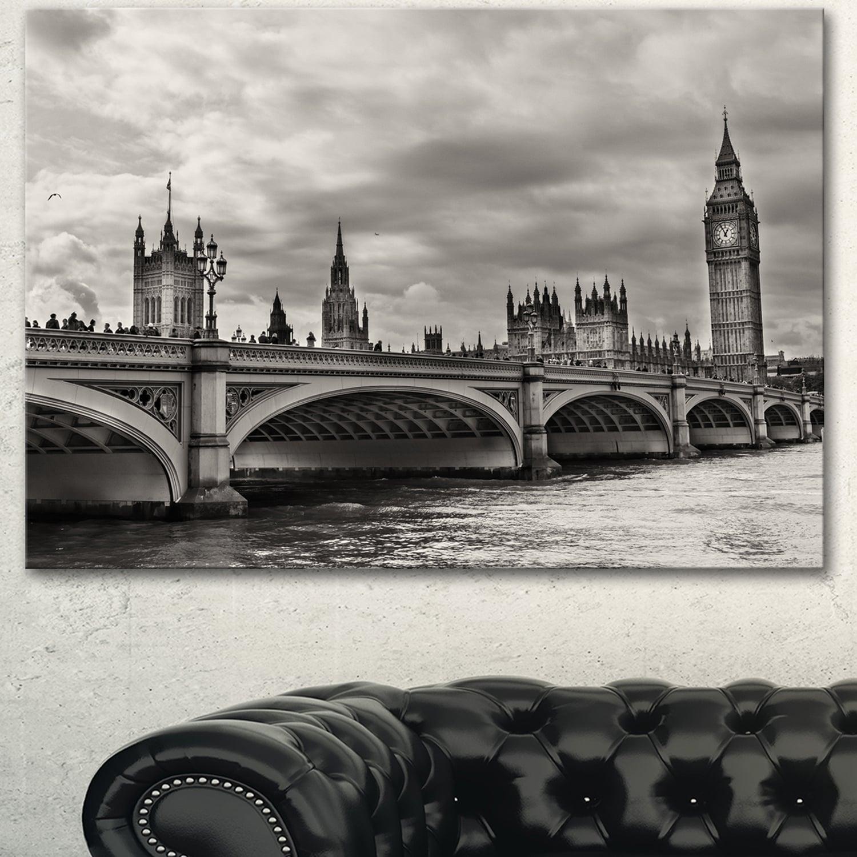 Designart Wonderful View Of Westminster Bridge Large Cityscape Wall Art Canvas Print Grey Overstock 13177985