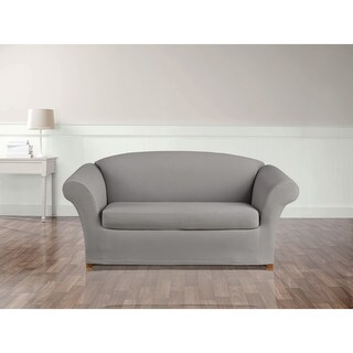 Sure Fit Stretch Pique 3 Piece Chocolate Loveseat
