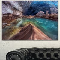 Designart 'Colorful Glacier Cave' Extra Large Landscape Art Canvas - Blue