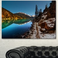 Designart 'Blue Clear Lake with Mountains' Extra Large Landscape Art Canvas - Blue
