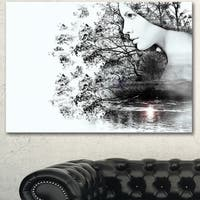 Designart 'Woman and Beauty of Nature' Extra Large Landscape Art Canvas - White