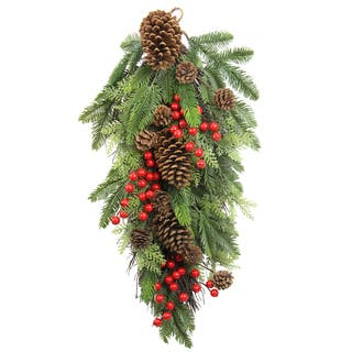 Faux 28-inch Red Berries, Natural Pine Cones, and Cedar Christmas Teardrop|https://ak1.ostkcdn.com/images/products/13178053/P19901125.jpg?impolicy=medium