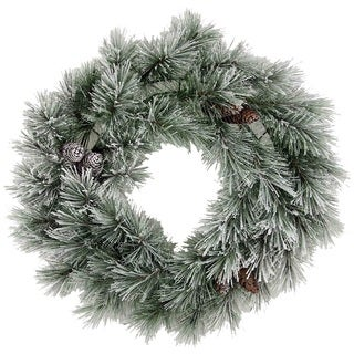 Christmas Pine 24-inch 50-tip Frosted Snow Wreath