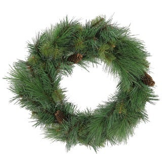 24-inch 63-tip Christmas Pine Wreath with Natural Pine Cones