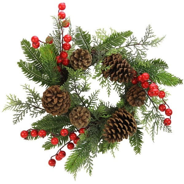 Faux Red Berries Natural Pine Cones And Cedar 14 Inch Christmas Wreath Candle