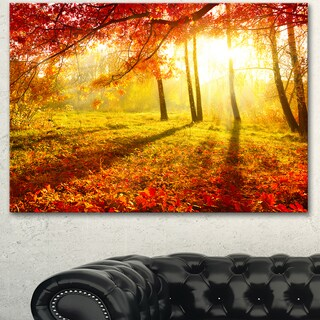Designart 'Yellow Red Fall Trees and Leaves' Landscape Artwork Canvas Print