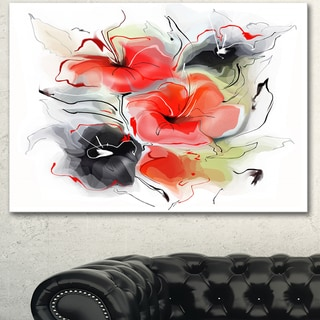 Designart 'Red Black Abstract Floral Design' Extra Large Floral Wall Art - Red