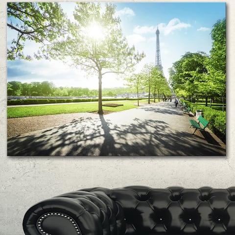 Designart 'Eiffel Tower at Sunny Morning' Landscape Artwork Canvas Print - Green