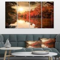 Designart 'Colorful Fall Sunset over River' Landscape Artwork Canvas Print - Pink