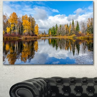 Designart 'Nice Autumn Trees With Forest Lake' Landscape Artwork Canvas Print - Green