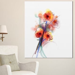 Designart 'Soft Color Flowers on White Background' Modern Floral Wall Art Canvas