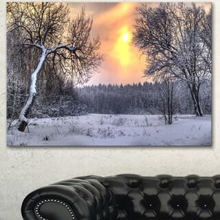 Designart 'Winter Landscape with Yellow Sun' Landscape Artwork Canvas Print