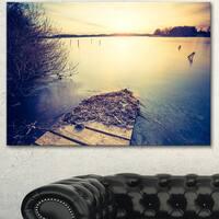 Designart 'Amazing Sunset over Clam Lake' Landscape Artwork Canvas Print - Purple