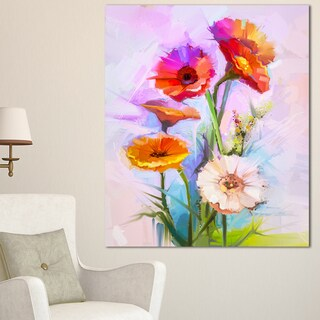 Designart 'Bouquet of Red White Flowers' Modern Floral Wall Art Canvas