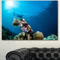 Designart 'Broadclub Cuttlefish Underwater' Large Seashore Canvas Artwork Print