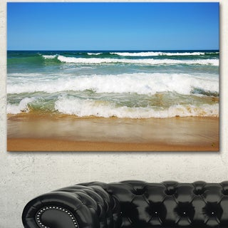 Designart 'Beautiful Empty Beach under Blue Sky' Large Seashore Canvas Artwork Print (4 options available)