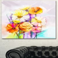 Designart 'Yellow Pink Gerbera and Rose Bouquet' Extra Large Floral Wall Art - YELLOW