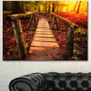 Designart 'Beautiful Footbridge in Golden Light' Large Bridge Canvas Wall Artwork