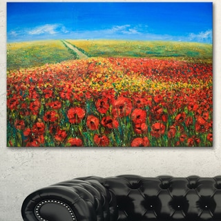 Designart 'Acrylic Landscape with Red Flowers' Extra Large Floral Wall Art