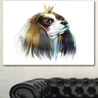 Designart 'Cute Little Dog in Crown' Modern Animal Canvas Wall Artwork
