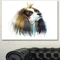 Designart 'Cute Little Dog in Crown' Modern Animal Canvas Wall Artwork