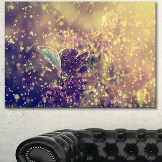Designart 'Blue Butterfly And Purple Flowers' Modern Flower Canvas Wall Artwork