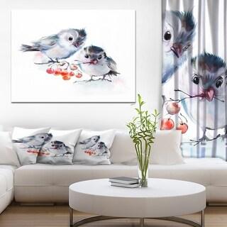 Designart 'Birds on Branch With Red Berries' Modern Animal Canvas Wall Artwork