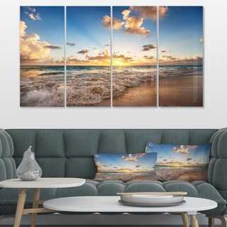 Sunrise on Beach of Caribbean Sea' Large Seashore Canvas Artwork Print (5 options available)