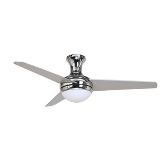 AISLEE Flush Mount 3 Blade Ceiling Fan in Chrome Finish with Frosted Alabaster Light Kit with Remote Control